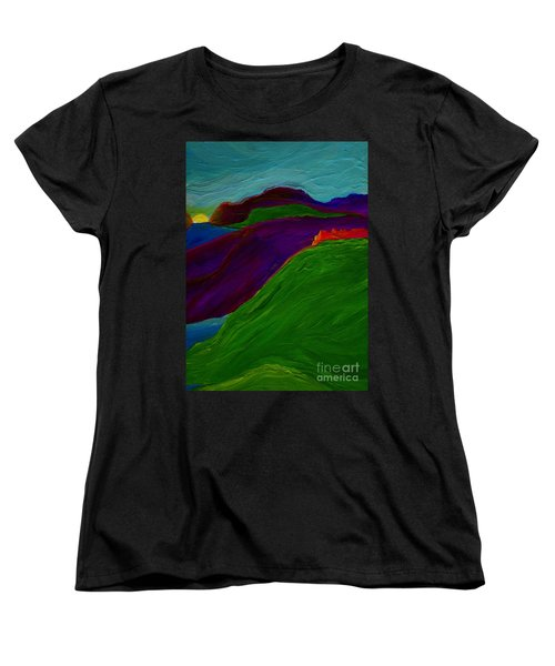 Women's T-Shirt (Standard Cut) featuring the painting Sunrise Castle By Jrr by First Star Art