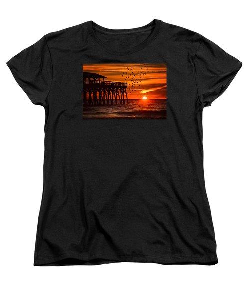 Sunrise In Myrtle Beach With Birds Flying Around The Pier Women's T-Shirt (Standard Cut) by Vizual Studio