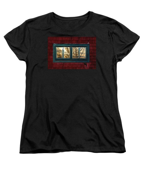 Women's T-Shirt (Standard Cut) featuring the photograph Sunrise In Old Barn Window by Susan Capuano