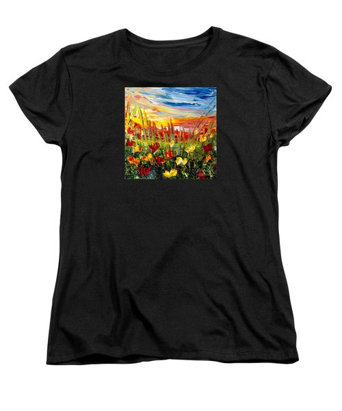 Women's T-Shirt (Standard Cut) featuring the painting Sunrise Meadow   by Teresa Wegrzyn