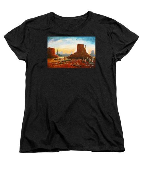 Sunrise Stampede Women's T-Shirt (Standard Cut) by Marilyn Smith