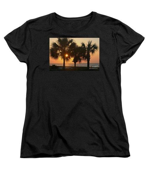 Sunrise Through The Palms Women's T-Shirt (Standard Cut) by Kevin McCarthy