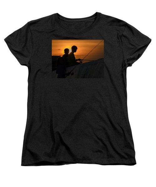 Sunset Anglers Women's T-Shirt (Standard Cut) by Keith Armstrong