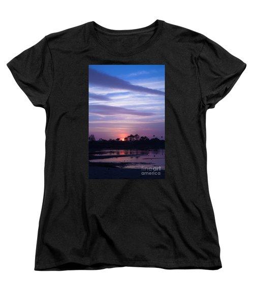 Sunset At Malibu Beach Lagoon Estuary Fine Art Photograph Print Women's T-Shirt (Standard Cut) by Jerry Cowart