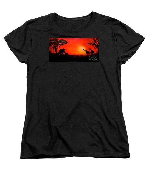 Sunset At Serengeti Women's T-Shirt (Standard Cut) by Sher Nasser