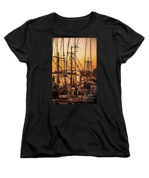 Sunset Boat Masts At Dock Morro Bay Marina Fine Art Photography Print Sale Women's T-Shirt (Standard Cut) by Jerry Cowart