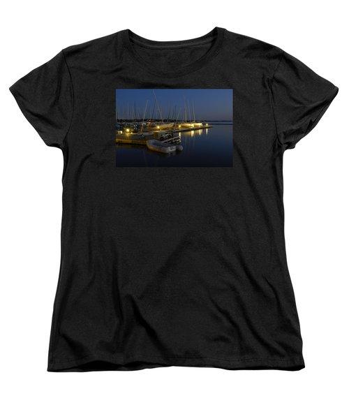 Sunset Dock Women's T-Shirt (Standard Cut) by Charles Beeler