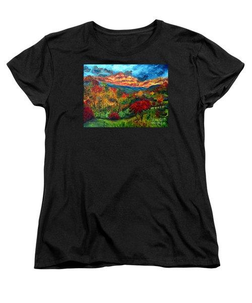 Sunset In Shenandoah Valley Women's T-Shirt (Standard Cut) by Julie Brugh Riffey