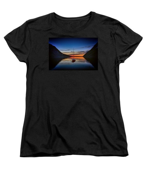 Sunset On Lake Willoughby Women's T-Shirt (Standard Cut) by John Haldane