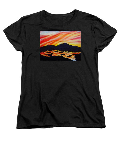 Women's T-Shirt (Standard Cut) featuring the painting Sunset On Rice Fields by Michele Myers