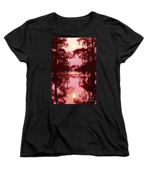 Women's T-Shirt (Standard Cut) featuring the photograph Sunset On The Bayou Atchafalaya Basin Louisiana by Dave Welling