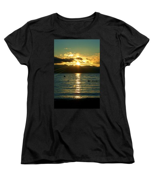 Sunset Over Lake Tahoe Women's T-Shirt (Standard Cut) by Ellen Heaverlo
