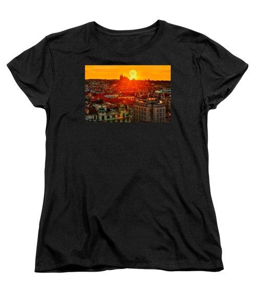 Sunset Over Prague Women's T-Shirt (Standard Cut) by Midori Chan