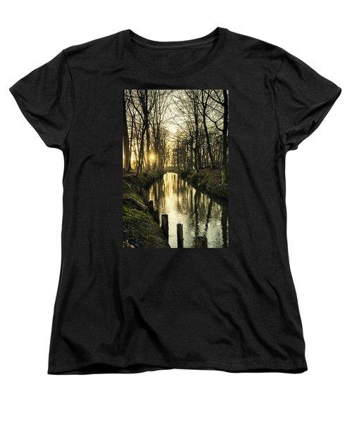 Sunset Over Stream Women's T-Shirt (Standard Cut) by Mike Santis