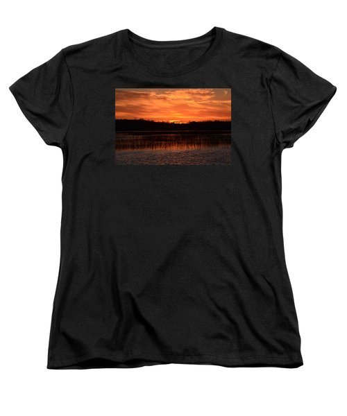 Sunset Over Tiny Marsh Women's T-Shirt (Standard Cut) by David Porteus