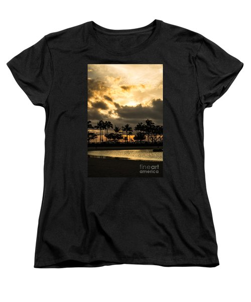 Sunset Over Waikiki Women's T-Shirt (Standard Cut) by Angela DeFrias