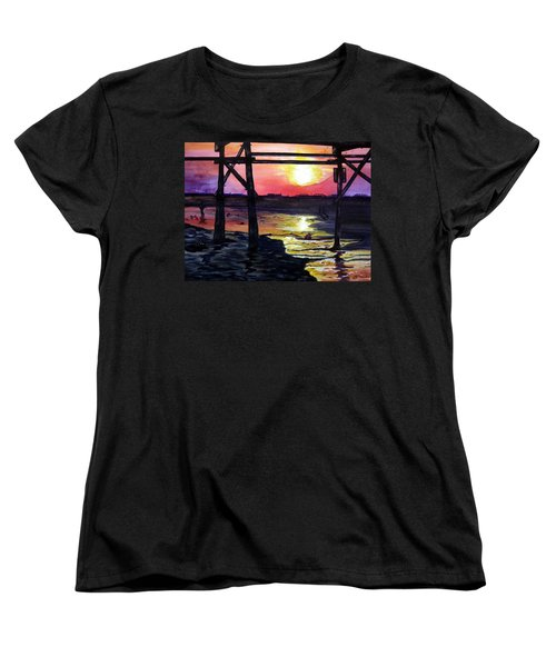 Sunset Pier Women's T-Shirt (Standard Cut) by Lil Taylor