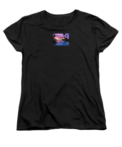 Women's T-Shirt (Standard Cut) featuring the photograph Sunset Reflection St Regis Pool by Michele Penner