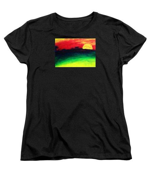 Women's T-Shirt (Standard Cut) featuring the painting Sunset by Salman Ravish