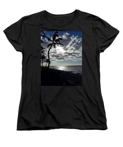Sunset With Palm Trees Women's T-Shirt (Standard Cut) by Pamela Walton