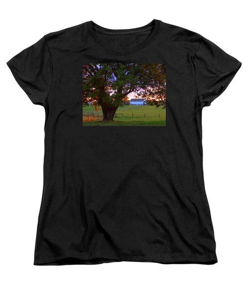 Sunset With Tree Women's T-Shirt (Standard Cut) by Joseph Skompski