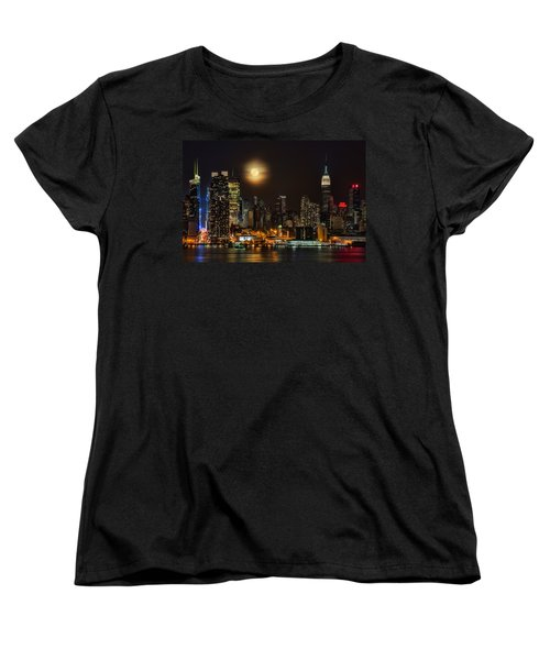 Super Moon Over Nyc Women's T-Shirt (Standard Cut) by Susan Candelario