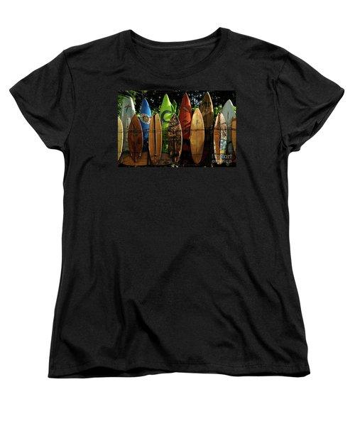 Surfboard Fence 4 Women's T-Shirt (Standard Cut) by Bob Christopher