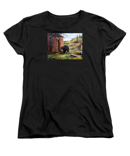 Women's T-Shirt (Standard Cut) featuring the painting Surprise Visit by Lee Piper