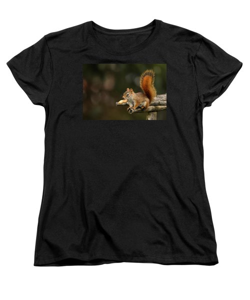 Surprised Red Squirrel With Nut Portrait Women's T-Shirt (Standard Cut) by Debbie Oppermann
