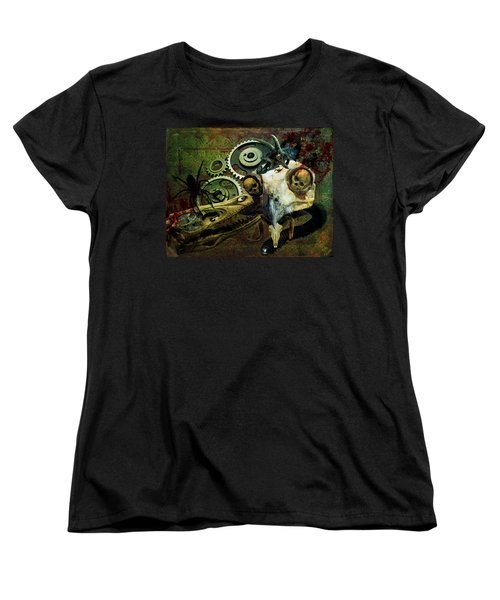 Women's T-Shirt (Standard Cut) featuring the painting Surreal Nightmare by Ally  White