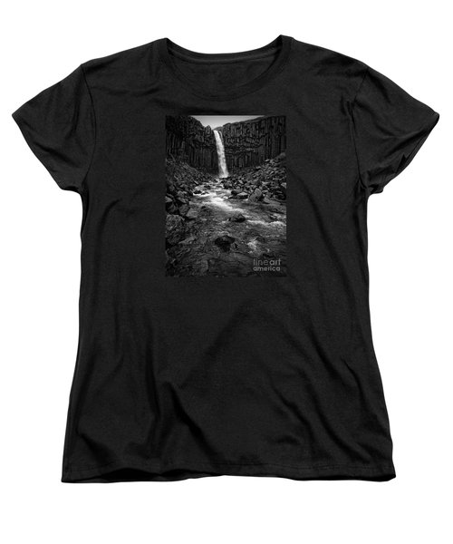 Svartifoss Waterfall In Black And White Women's T-Shirt (Standard Cut) by IPics Photography