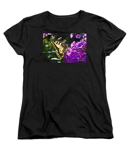 Women's T-Shirt (Standard Cut) featuring the photograph Swallowtail On A Flower by Maja Sokolowska