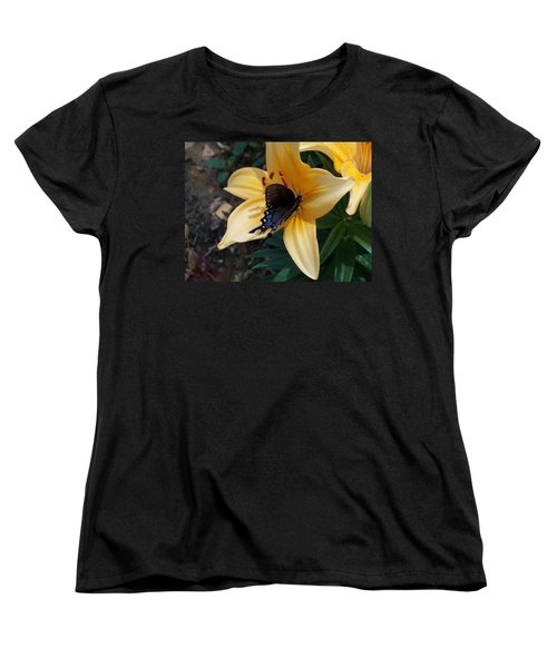 Women's T-Shirt (Standard Cut) featuring the photograph Swallowtail On Asiatic Lily by Kathryn Meyer
