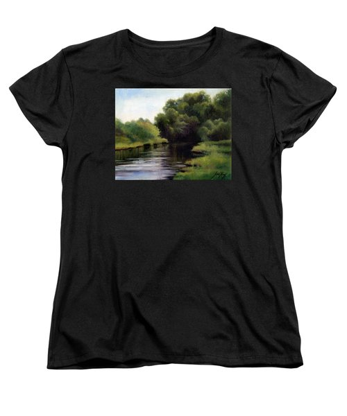 Women's T-Shirt (Standard Cut) featuring the painting Swan Creek by Janet King