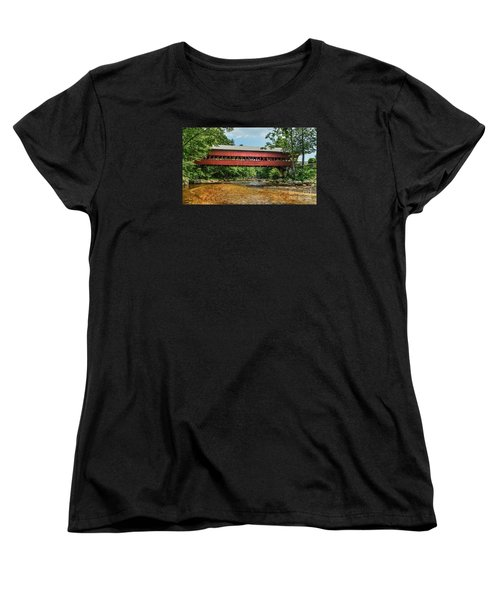 Women's T-Shirt (Standard Cut) featuring the photograph Swift River Covered Bridge Hew Hampshire by Debbie Green