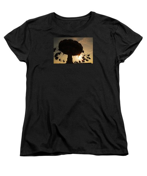 Women's T-Shirt (Standard Cut) featuring the photograph Swing Ride At Sunset by James Kirkikis