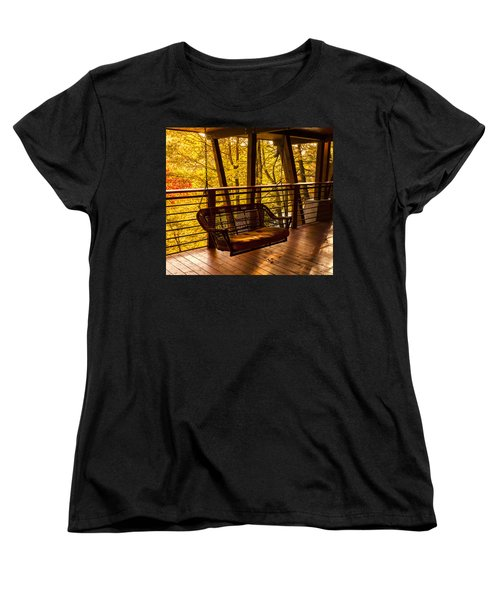 Swinging In Autumn Trees Original Photograph Women's T-Shirt (Standard Cut) by Jerry Cowart