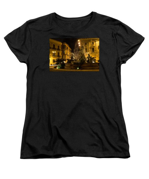 Women's T-Shirt (Standard Cut) featuring the photograph Syracuse - Diana Fountain  by Georgia Mizuleva