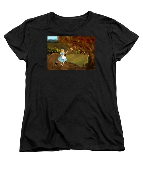 Women's T-Shirt (Standard Cut) featuring the painting Tammy Meets Zeke The Opossum by Reynold Jay