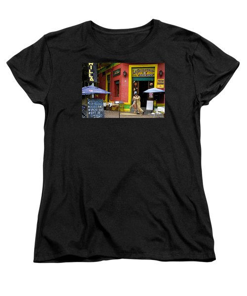 Tango Dancing In La Boca Women's T-Shirt (Standard Cut) by David Smith