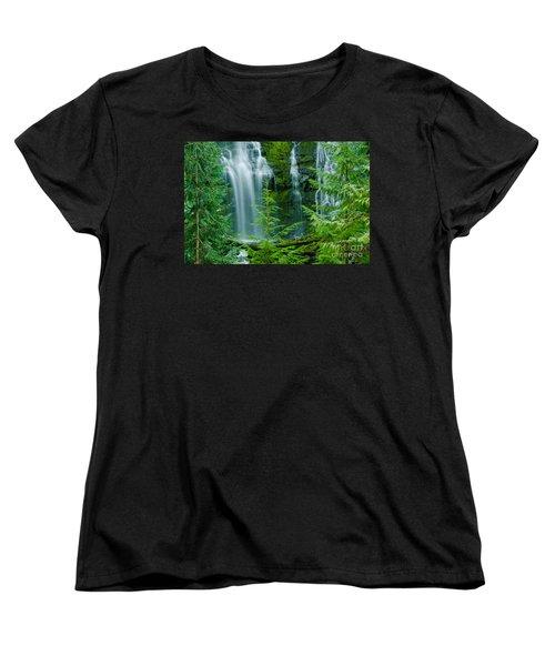 Pacific Northwest Waterfall Women's T-Shirt (Standard Cut) by Nick  Boren