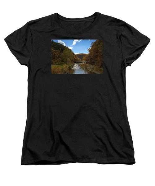 Women's T-Shirt (Standard Cut) featuring the photograph Taughannock Lower Falls Ithaca New York by Paul Ge