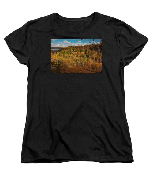 Women's T-Shirt (Standard Cut) featuring the photograph Taughannock River Canyon In Colorful Fall Ithaca New York II by Paul Ge