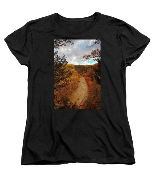 Women's T-Shirt (Standard Cut) featuring the painting Taughannock River Canyon In Colorful Fall Ithaca New York IIi by Paul Ge