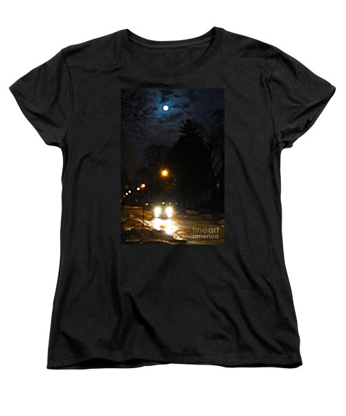 Women's T-Shirt (Standard Cut) featuring the photograph Taxi In Full Moon by Nina Silver