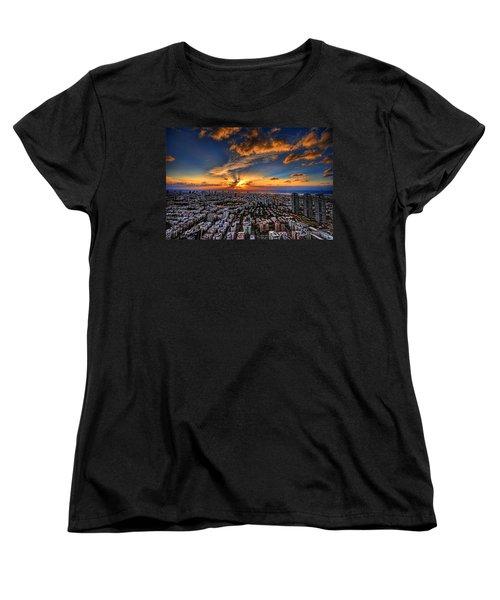 Tel Aviv Sunset Time Women's T-Shirt (Standard Cut) by Ron Shoshani
