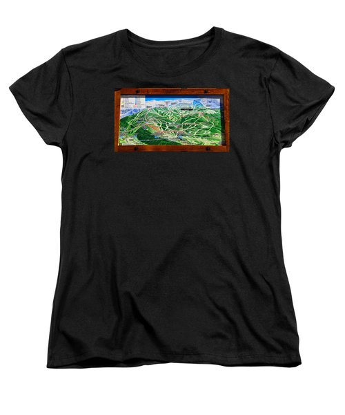Telluride Ski Map Detail  Women's T-Shirt (Standard Cut) by David Lee Thompson