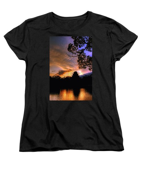 A Temple Sunset Japan Women's T-Shirt (Standard Cut) by John Swartz