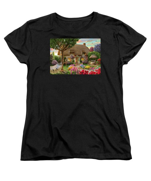 Thatched Cottage Women's T-Shirt (Standard Cut) by Adrian Chesterman