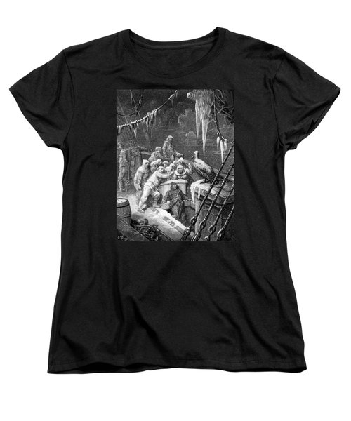 The Albatross Being Fed By The Sailors On The The Ship Marooned In The Frozen Seas Of Antartica Women's T-Shirt (Standard Cut) by Gustave Dore